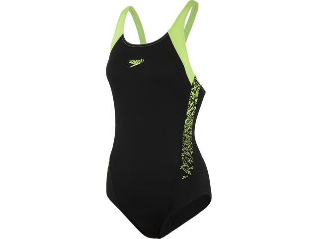 d85ad13e6 speedo Boom Splice Muscleback Swimsuit Women black/green